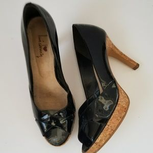 Luichiny patent leather cork heels sz 8